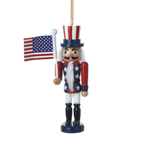 Kurt Adler American Flag Nutcracker Christmas Ornament ()