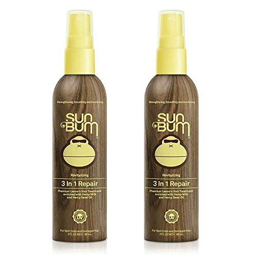 Sun Bum Revitalizing 3 in 1 Repair Spray, Leave in Hair Treatment Spray for Split Ends and Damaged Hair, Controls Frizz, Paraben Free, Sulfate Free, 3 ounce Spray Bottle, 2 Count