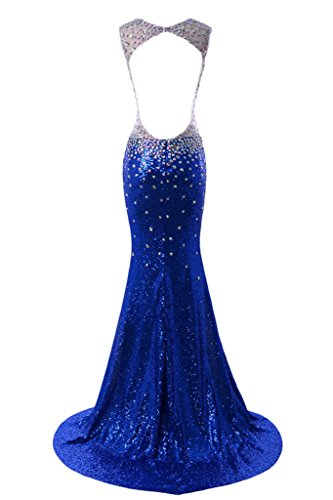Missdressy Damen Mermaid VAusschnitt Steine Paillette Abendkleid ...
