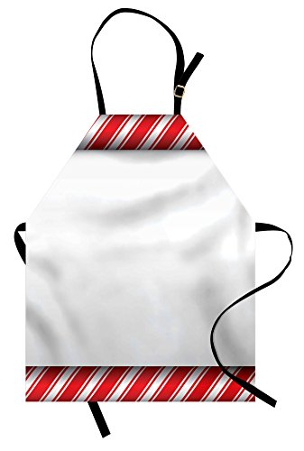 Ambesonne Candy Cane Apron, Horizontal Borders Frame with Re