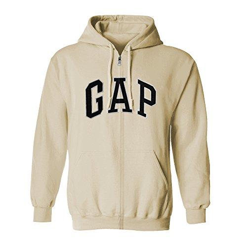 GAP Men's Full Zip Fleece Logo Hoodie (X-Small, Cream) - Gap Mens Sweater