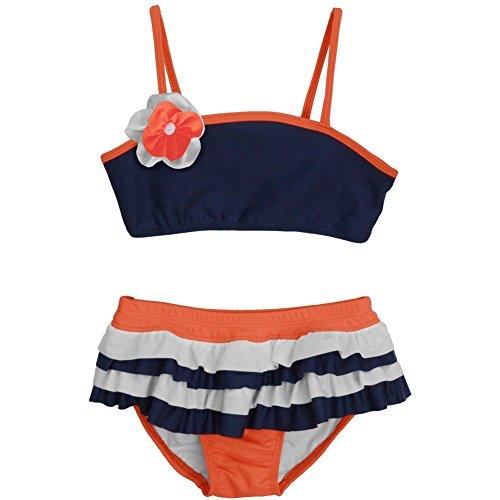 Isobella & Chloe Little Girls Navy Blue Horizon Two Piece Bikini Swimsuit 4T