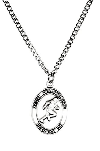 Jeweled Football (Mens Pewter Saint Christopher Sports Athlete Medal, 1 Inch - Football Medal)