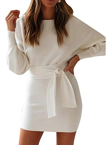 g Knitted Dress Sexy Bodycon Long Sleeve Dresses with Belt White ()