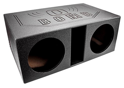 Q Power QBOMB12VL Dual 12-Inch SPL Vented Speaker Box with Durable Bed Liner Spray by Q Power