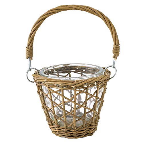 Time Concept Fontaine Glass Flower Vase - Small - with Straw Basket Weave Overlay, Glass Willow Material, Home & Garden Pot Decor