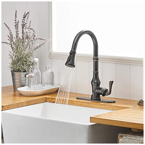 Farmhouse Kitchen BWE Kitchen Faucet with Pull Out Sprayer 3 Spray Modes Single Handle Singe Lever High Arc Kitchen Sink Faucet with Deck… farmhouse sink faucets