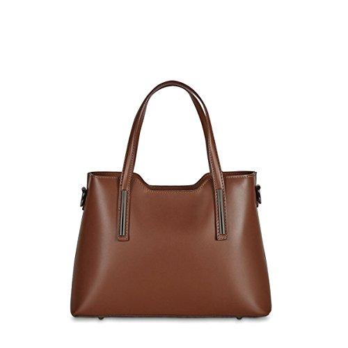 Christian Laurier - Sac à main en cuir modèle Harvey marron - Sac à main haut de gamme fabriqué en Italie en cuir véritable
