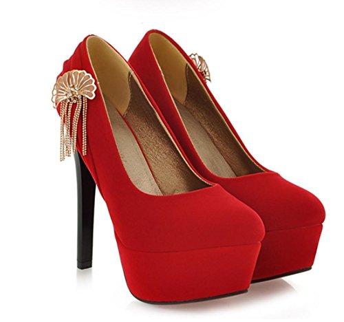 YCMDM scarpe col tacco alto Belle metallo con frange in camoscio scarpe casual donne Nuova Primavera Autunno Moda Rosso Nero 35 36 37 38 39 40 41 42 43 , red , 34