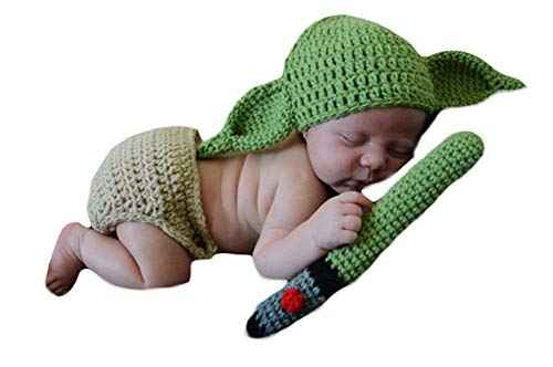 3PCS Infant Newborn Baby Crochet Costume Outfits Photography Props Star Wars Master Yoda Hat+Pant+Green Blade Lightsaber 0-6 Months