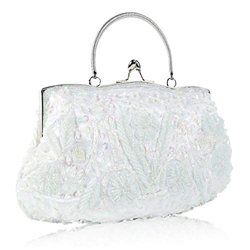 Bag Bag Beaded Retro Sequined White Women's Evening Embroidered Evening Handmade 8TOgxqEw