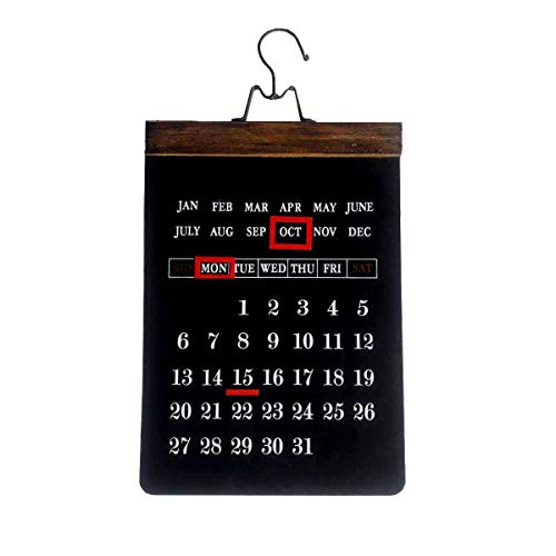 - NIKKY HOME Rustic Wooden Large Wall Hanging Perpetual Calendar with Magnet Markers, Black