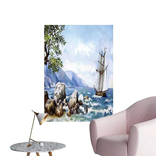 (SeptSonne Modern Decor Oil Paint sea Views Wallpaper Ship sea Ideal Kids Decor or Adults,12
