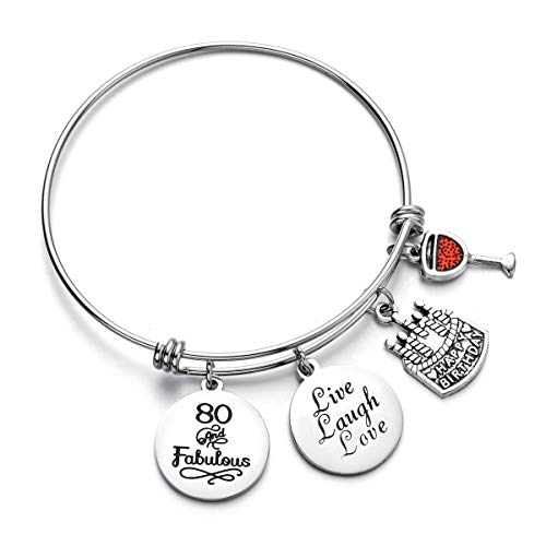 Miss Pink 80th Birthday Jewelry Gifts for Her Stainless Steel Expandable Charm Bracelets for Women ()