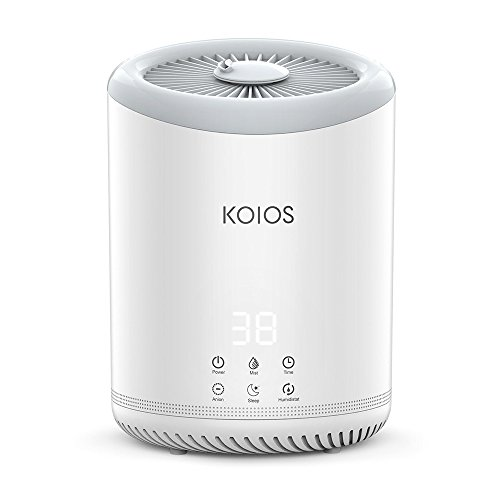 Koios Top Fill Humidifiers, Ultrasonic Cool Mist Humidifier with 3 Adjustable Mist Settings, Ultra Quiet, Automatic Shut-Off, Sleep Mode, 4 Liter Large Capacity Open Water Tank for Bedroom
