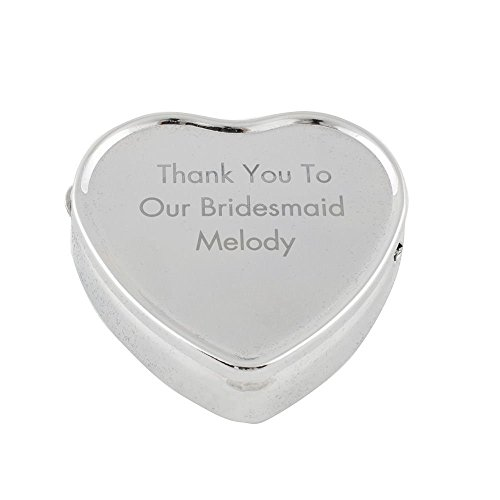 GP Personalized Trinket Box Heart Jewelry Box Engraved Silver for Wedding Bridesmaid Gift Present