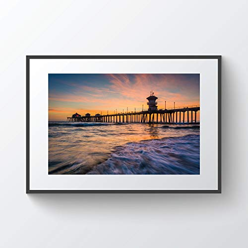 rfy9u7 Waves in The Pacific Ocean and The Pier at Sunset in Huntington Beach California Photo Print Metal Canvas ()