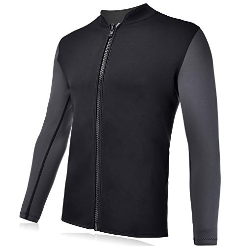 Realon Wetsuits Top Jacket Vest Mens Women 3mm Premium Shirt Neoprene Long Sleeve/Sleeveless Front Zip Sports XSPAN for Scuba Diving Surf Swimming Snorkel Windsurfing Suit (Men Jacket, XL)