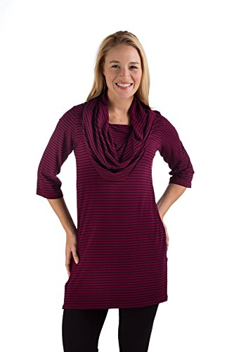 uct1680-medium-berry-black-stripe-bamboodreams-uma-cowl-tunic-3-4-sleeve-loose-wide-cowl-neck-side-s