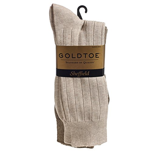 Gold Toe Mens 4-Pair Sheffield Premium Pima Cotton Trouser Socks (1 Light Tan/2 Beige/1 Dark Beige, Shoe Size 6-12.5 (1 PK - 4 Pair Total)) (Cotton Toe Gold Socks)