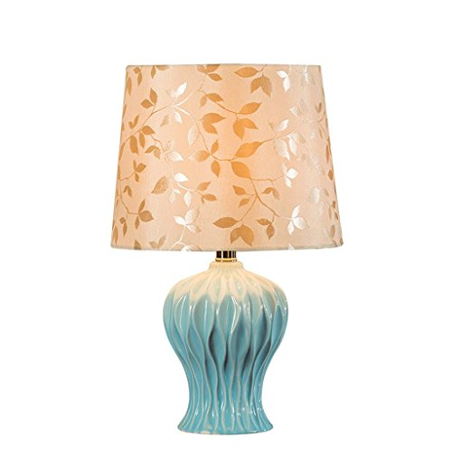Ceramic Wave Table Lamp - DYY European Ceramic Table Lamp, Wave Modeling, Handmade Printed Linen Lamp Shade, LED Dimmable Decorative Table Lamp