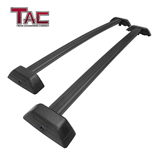 (TAC Cross Bars Fit 2006-2010 Hummer H3 with Lock System Black OE Style Aluminum Roof Top Rail Rack Snowboard Kayak Canoe Luggage Carrier )
