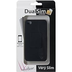 VaVeliero Dual SIM Cover con adattore interno per iPhone 4 e 4S, Nero