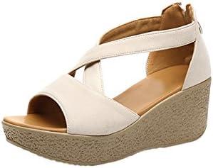 fereshte Womens Ankle Strap Platform Sandals Single Band Wedge Heels