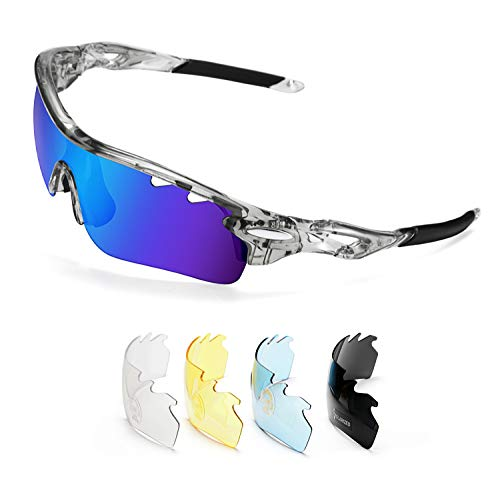FEISEDY Polarized Sports Sunglasses 5 Interchangeable Lenses Golf Driving Running Cycling Sun Grasses B2458 (Grey-blue, 70)