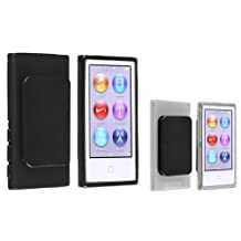 Everydaysource Compatible with Apple iPod nano 7th Generation 2 packs of Black Belt Clip TPU Rubber Cases: Black, Clear