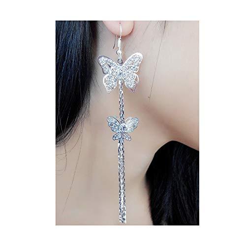 Lovely Double Butterfly Crystal Long Tassel Dangle Earrings for Women Girl Fashion Jewelry Accessories ()