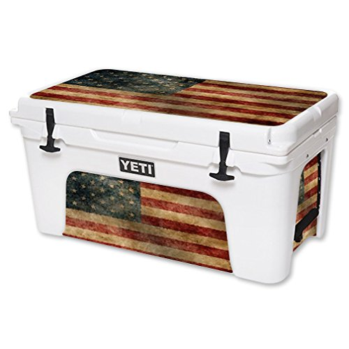 MightySkins Protective Vinyl Skin Decal for YETI Tundra 65 qt Cooler wrap cover sticker skins Vintage Flag
