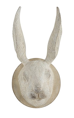 Creative Co-Op DA6760 Distressed Cream Resin & Wood Carved Rabbit Head Wall - Distressed Head