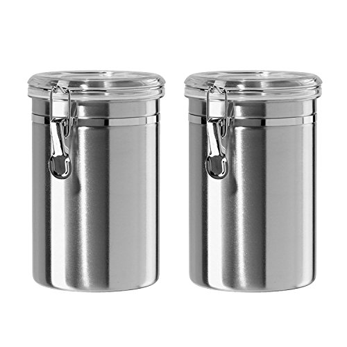 Canister Set Stainless Steel - Beautiful Canisters for Kitchen Counter, Small 32 fluid oz, with Airtight Lids, Food Storage Container, Tea Coffee Sugar Canisters by SilverOnyx - Small 32oz - 2 Piece