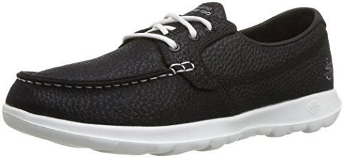 Skechers Performance Women's GO Walk Lite-Eclipse Boat Shoe,Black/White,8.5 M (Black Eclipse Casual Shoes)