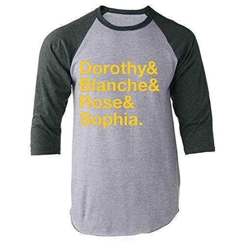 Pop Threads Dorothy & Blanche & Rose & Sophia. Gray S Raglan Baseball Tee Shirt