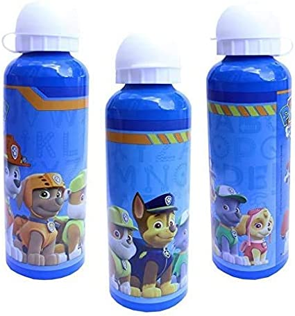 ML Una Botella de Agua de Aluminio para niños y niñas, Patrulla Canina Paw Patrol Pup Team cantimplora térmica a Prueba de Fugas sin BPA para Levar a la Escuela y Deportes el Termo 500ml Azul