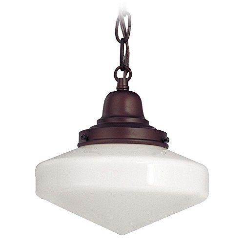 120v Line Voltage Round Canopy (8-Inch Period Lighting Schoolhouse Mini-Pendant Light with Chain)