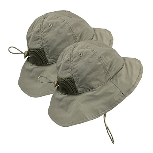 37957d70cbe Galleon - N Ice Caps Kids SPF 50+ UV Protection Breathable Adjustable Sun  Hat - 2 Hat Pack (Tan - 2 Pack