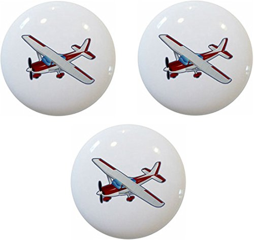 (Red Airplane Aviation Ceramic Cabinet Drawer Pulls Knobs (Set of 3 Knobs))