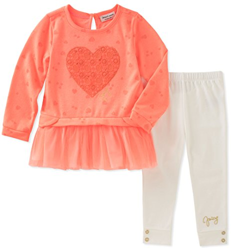 (Juicy Couture Baby Girls 2 Pieces Long Sleeves Tunic Set, Print/egret, 12M)
