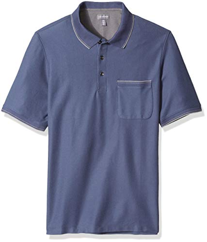 and Tall Never Tuck Tipped Short Sleeve Polo, Blue Barge, 3X-Large Big ()