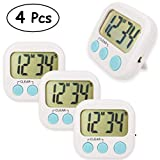 4 Pack Digital Kitchen Timer Loud Alarm Big LCD Display Magnetic Back and Stand ON/OFF Switch for Cooking Baking Sports Games (White)