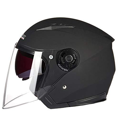 (Helmet Motorcycle Open Face Racing Motorcycle Vintage Helmets with Dual Lens 8 XXL)