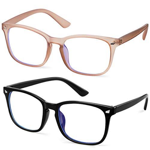 GEKKALE Blue Light Blocking Computer Glasses Square Nerd Eyeglasses Frame Anti Eye Strain Headache Computer Reading Glasses UV400 Transparent Lens, 2 Pack from GEKKALE