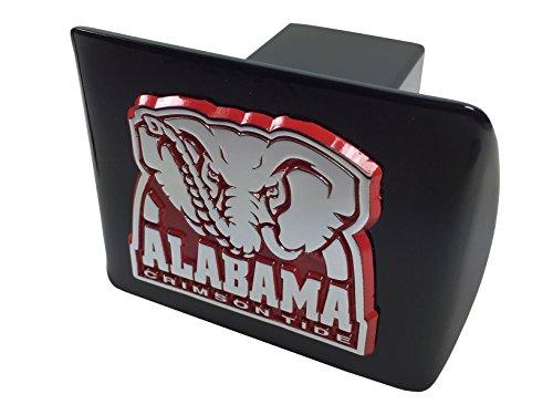 University of Alabama METAL elephant emblem (chrome with crimson trim) on black METAL Hitch Cover