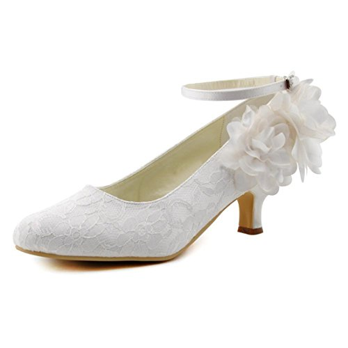 Minishion Women's Low Heel Classic Ivory Lace Bridal Wedding Shoes with Flowers US 10 -