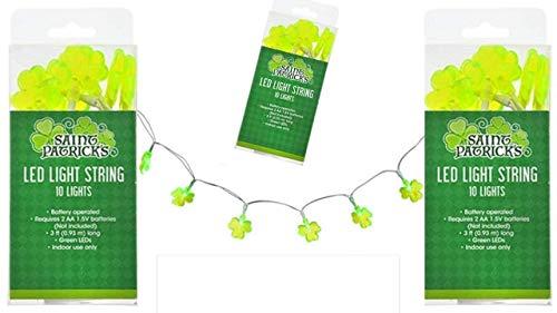 (LED String Lights - St Patricks Day Lights - Shamrock String Lights (3 pack) St Patricks Day Decorations - St Patty Day Accessories - Green Shamrock Lights)