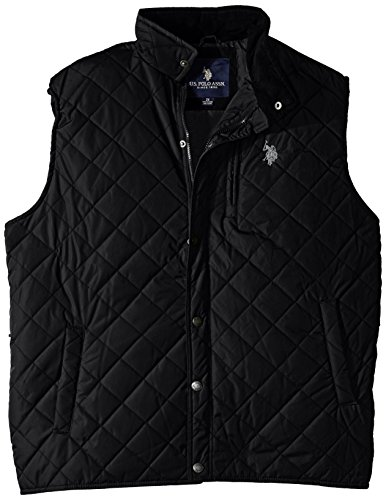 U.S. Polo Assn. Men's Big-Tall Diamond Quilted Vest with Corduroy Collar, Black, 2X - Diamond Mens Vest