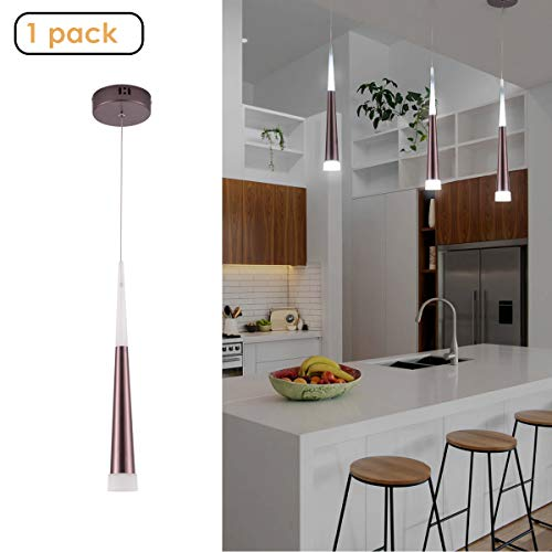 Harchee Modern LED Pendant Light with Acrylic Shade, Adjustable Ceiling Hanging Lamp Fixture, Mini Cone Pendant Lighting for Kitchen Island, Dining Room Bar Farmhouse Entryway 6W, Daylight 6000K (Pendant Lamps Led)